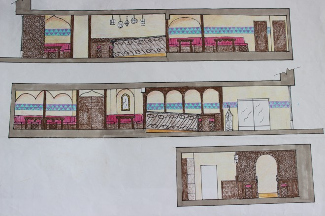 Design Concept 2 Section Views which show the golden sandy coloured walls, dark wooden trellises and arches, deep red fabric furnishings, hanging lanterns and colorful Islamic art style mosaic border detail.