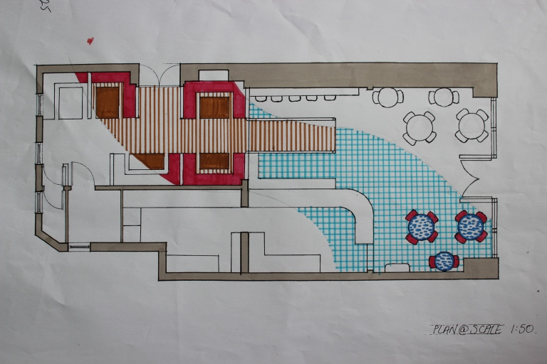 Plan View of Final Design Concept. Toned down from last design with a lot more white and also mosaic table tops.