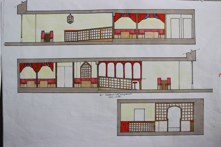 Section Views of Final Design Concept with gold Moroccan style screens to section of quieter booth seating area to rear and also as a unique design on the front of the counter.