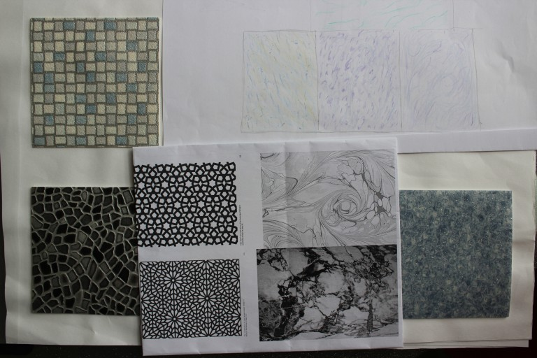 Materials I could use in my cafe design including marble flooring, mosaic tiles & Islamic patterned screens.